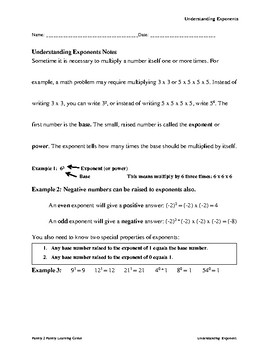 Understanding Exponents w/ Answer Key
