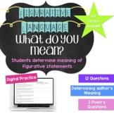 Understanding Figurative Language Worksheet- Middle School Digital Activity