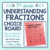 Understanding Fractions Choice Board - 3rd Grade, Editable