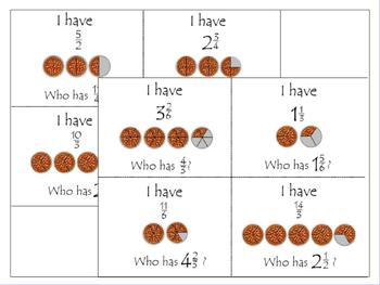 Fractions Greater than 1: Int. Whiteboard Lessons; I Have, Who Has; Printables