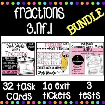 Understanding Fractions NF.1 BUNDLE | Task Cards, Exit Tickets, Assessments
