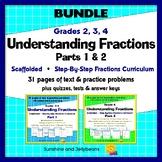 Understanding Fractions - Parts 1 & 2 Bundle - Scaffolded Easy Fractions Study