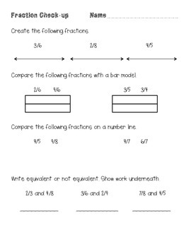 Understanding Fractions quiz and test