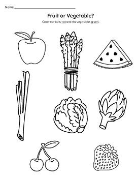 Understanding Fruits and Vegetables Worksheet Set