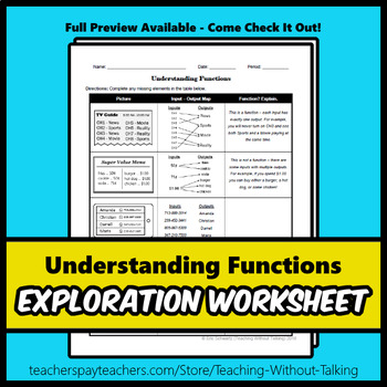 Understanding Functions Worksheet