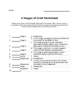 Grief Worksheets Teaching Resources | Teachers Pay Teachers