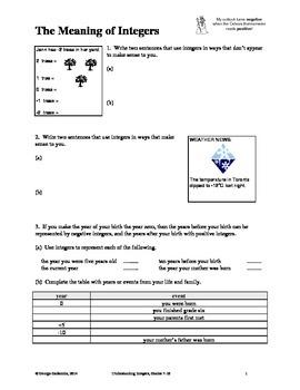 Understanding Integers, Grades 7-10
