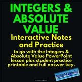 Understanding Integers, Opposites & Absolute Value Interactive Notes & Practice
