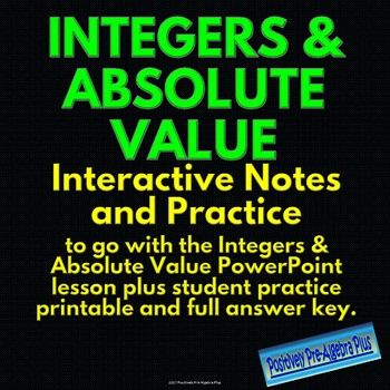 Absolute value inequalities notes teaching resources teachers pay understanding integers opposites absolute value interactive notes practice fandeluxe