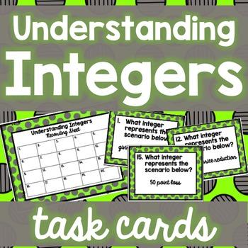 Understanding Integers Task Cards
