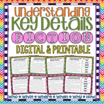 Understanding Key Details Basic Comprehension Questions Task Cards { Fiction }