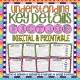 Understanding Key Details Basic Comprehension Questions Task Cards { Fiction }
