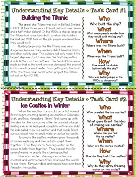Understanding Key Details Basic Comprehension Questions Task Cards {NONFICTION}