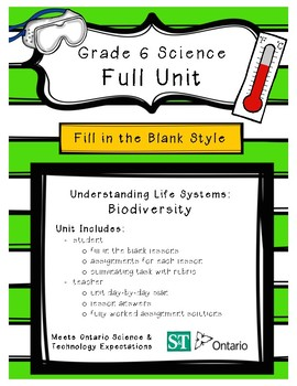 Life Systems - Biodiversity (Grade 6 Ontario) - Fill in the Blanks Unit