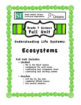 Understanding Life Systems - Ecosystems - Fill in the Blanks Unit