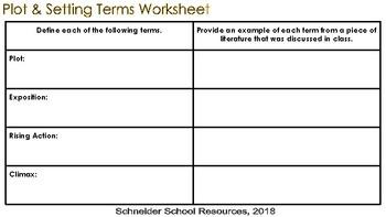 Understanding Literature: Plot & Setting Vocabulary Worksheet and Quiz