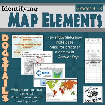 Understanding Map Elements - DOGSTAILS (lesson, practice, notes, answer on evolution of maps, purpose of maps, philosophy of maps,