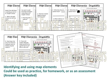 Understanding Map Elements - DOGSTAILS (lesson, practice, notes, answer keys)