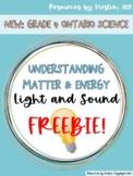 Light and Sound Understanding Matter and Energy Freebie! -Grade 4 Ontario