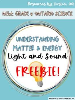 Light and Sound Understanding Matter and Energy Freebie!