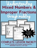 Understanding Mixed Numbers and Improper Fractions, Lesson Packet & Quiz
