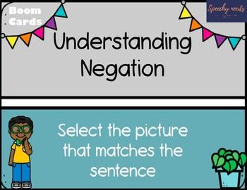 Understanding Negation in Sentences Boom Cards