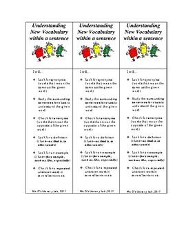 Understanding New Vocabulary (Bookmark)