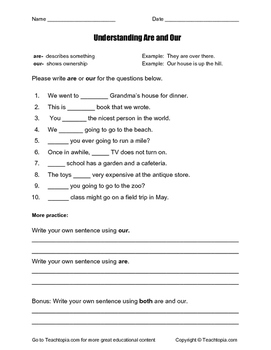 Understanding Our and Are.  NO PREP grammar worksheet.