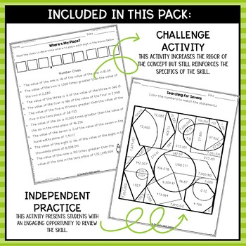 Place Value Relationships- Math Center Activity and Printables Pack