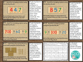 Understanding Place Value with the Montessori Golden Beads Task Cards BUNDLE