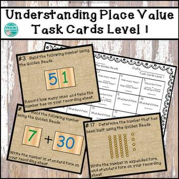 Understanding Place Value with the Montessori Golden Beads Task Cards Level 1