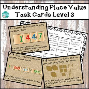Understanding Place Value with the Montessori Golden Beads Task Cards Level 3