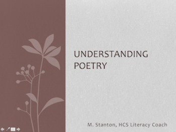 Understanding Poetry PowerPoint with Worksheet for Poetic Devices