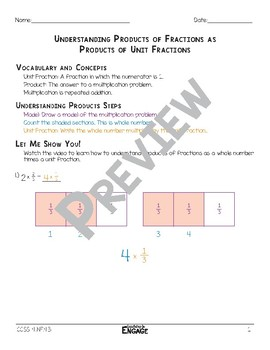 Understanding Products of Fractions as Unit Fractions Math Video and Worksheet