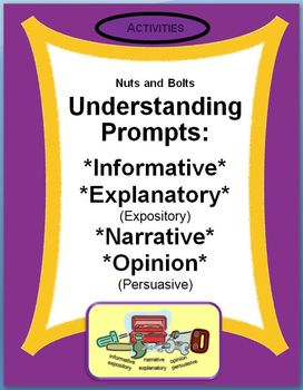 Understanding Prompts: Expository, Narrative, & Persuasive Skill Sheets
