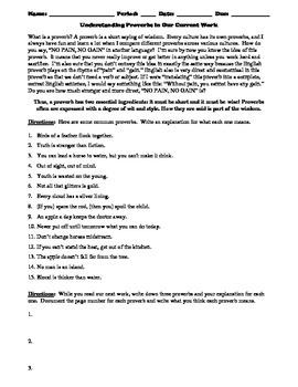 Understanding Proverbs Worksheet