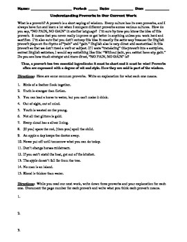 Understanding Proverbs Worksheet