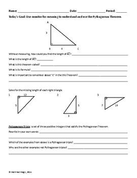 Understanding Pythagorean's Theorem Through Discovery!