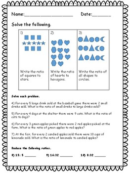 Understanding Ratios Quiz - Key Included - 18 Questions - CCSS Aligned