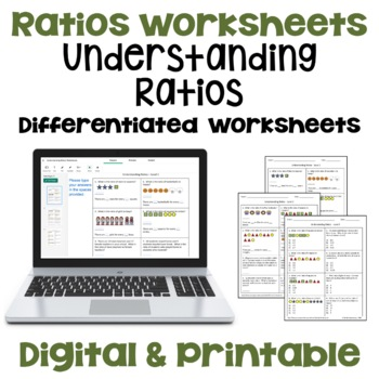 Understanding Ratios Worksheets (3 Levels)
