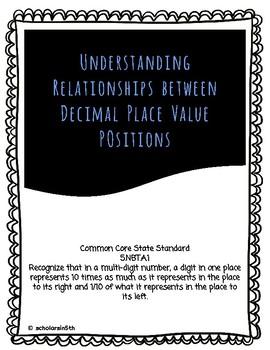 Understanding Relationships Between Decimal Place Value Positions