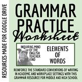High School Grammar Packet: Understanding Word Roots & Formatives