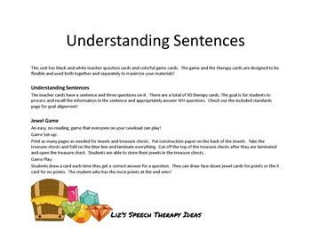 Understanding Sentences - Question activity