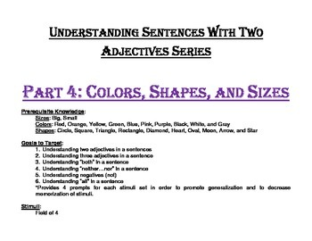 Understanding Sentences with 2 Adjectives Series Part 4: Colors, Shapes, & Sizes