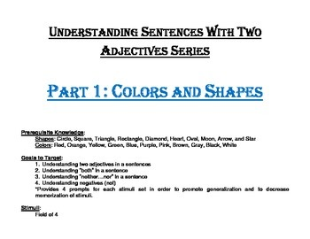Understanding Sentences with Two Adjectives Series Part 1: