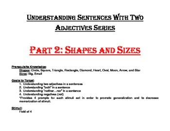 Understanding Sentences with Two Adjectives Series Part 2: Shapes and Sizes
