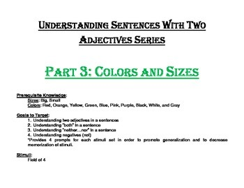 Understanding Sentences with Two Adjectives Series Part 3: Colors and Sizes