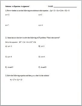 Solutions to Equations (Guided Notes and Assessment)