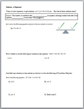 Understanding Solutions to Equations (Guided Notes and Ass