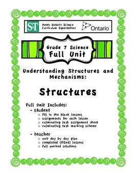Understanding Structures and Mechanisms - Structures - Fill in the Blanks Unit